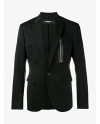 Dsquared Wool Blend Tailored Jacket With Zipper Black White