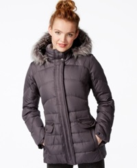 Larry Levine Faux Fur Hood Down Puffer Jacket Steel