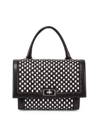Givenchy Shark Small Bicolor Woven Satchel Bag Black White Black White