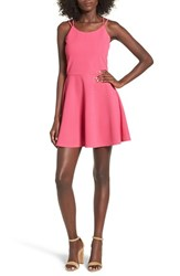 Cream And Sugar Women's Strappy Skater Dress Hot Pink