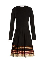 Red Valentino Ribbon Print Pleated Skirt Dress Black Multi