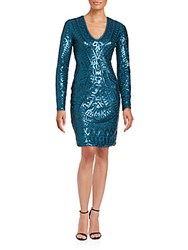 Bcbgmaxazria Sequin Embellished Long Sleeve Dress Deep Blue