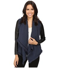 Blank Nyc Drape Front Jacket In Parking Space Blue Black Women's Coat