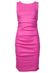 Nicole Miller Sleeveless Creased Short Dress Pink And Purple