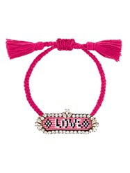 Shourouk 'Love' Beaded Bracelet Pink And Purple