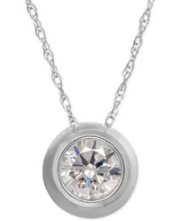 Macy's Bezel Set Cubic Zirconia Pendant Necklace In 14K Yellow White Or Rose Gold