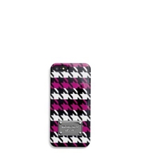 Michael Kors Houndstooth Saffiano Leather Phone Case For Iphone 5 Blk Wht Deep Pink