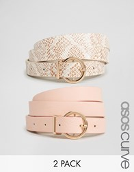 Asos Curve 2 Pack Round Buckle Pastel Snake And Plain Belt Multi