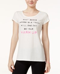 Jessica Simpson The Warm Up Mesh Back Graphic T Shirt Only At Macy's Glowing White