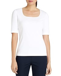 Lafayette 148 New York Square Neck Tee White