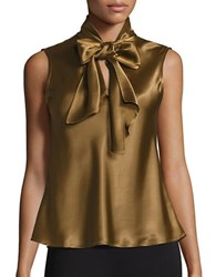 Nipon Boutique Tie Neck Charmeuse Sleeveless Top Bronze