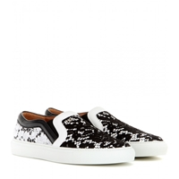 Givenchy Lace And Leather Slip On Sneakers Black White