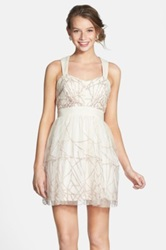 Hailey Logan By Adrianna Papell Glitter Mesh Fit And Flare Dress Juniors White