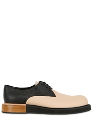 Mobi Two Tone Leather Derby Lace Up Shoes Beige Black