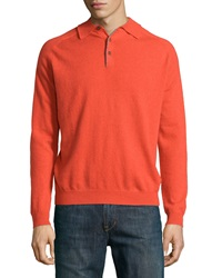 Neiman Marcus Cashmere Three Button Polo Sweater Curry