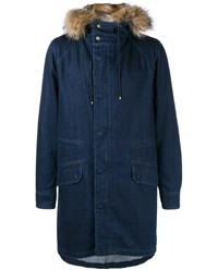 Yves Salomon Rabbit Fur Lined Denim Parka Denim Brown Dark Blue