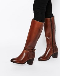 Ravel Strap Leather Heeled Knee Boots Tan