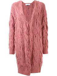 Le Ciel Bleu Long Cable Knit Cardigan Pink And Purple