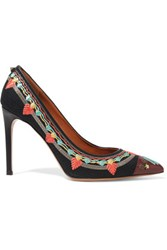 Valentino Leather Trimmed Embroidered Canvas Pumps Black