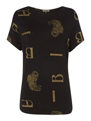Biba Scattered Leopard Short Sleeve T Shirt Black