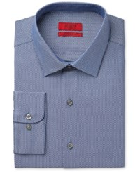 Alfani Red Men's Fitted Blue Pebbled Dress Shirt Only At Macy's