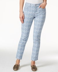 Charter Club Skinny Ankle Jeans Chambray Brocade Print