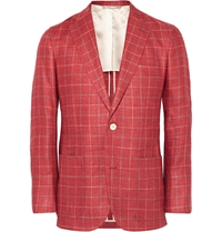 Freemans Sporting Club Slim Fit Checked Silk And Linen Blend Blazer Red
