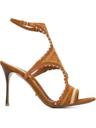 Sergio Rossi Embroidered Boho Sandals Nude And Neutrals