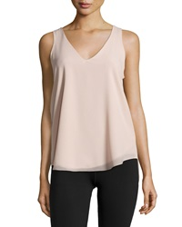 Dex Split Back V Neck Sleeveless Blouse Sand