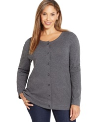 Karen Scott Plus Size Button Front Knit Cardigan Only At Macy's Charcoal Heather