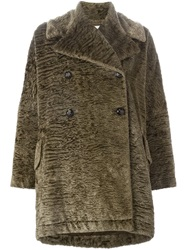 Dolce And Gabbana Vintage Oversized Faux Fur Coat Brown