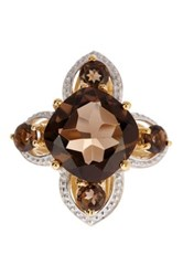 Olivia Leone 14K Yellow Gold Plated Sterling Silver Smoky Topaz Ring Brown