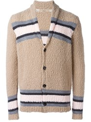Nuur Striped Cardigan Nude And Neutrals