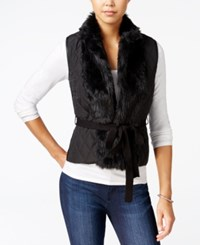Xoxo Juniors' Faux Fur Trim Belted Vest Black