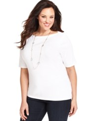 Charter Club Plus Size Elbow Sleeve Boat Neck T Shirt Only At Macy's Bright White
