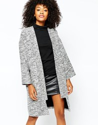 Monki Collarless Tailored Coat Black