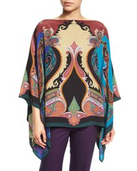 Etro Paisley Print Silk Poncho Top Rust Cobalt Purple