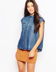 Mango Sleeveless Denim Shirt Blue