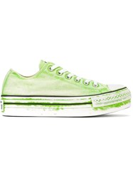 Converse Painted Effect Flatform Sneakers Green