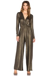 Oh My Love Jump Around Metallic Jumpsuit Metallic Gold