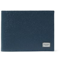 Dolce And Gabbana Grained Leather Billfold Wallet Blue