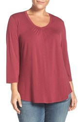 Sejour Plus Size Women's Three Quarter Sleeve Tee