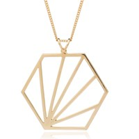 Rachel Jackson London Oversized Hexagon Necklace Gold