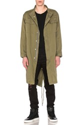 Stampd Elongated Military Parka In Green