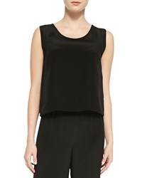 Caroline Rose Silk Crepe Tank Black Women's