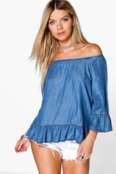 Boohoo Ruffle Detail Off The Denim Shoulder Top Indigo