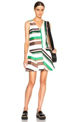 Msgm Striped Mini Dress In Green Stripes White