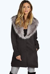 Boohoo Shawl Faux Fur Collar Coat Black