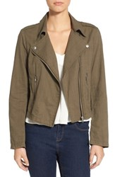 Women's Bp. Lightweight Cotton Moto Jacket Olive Burnt