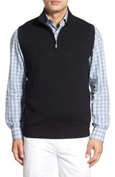 Men's Bobby Jones Quarter Zip Wool Sweater Vest Black